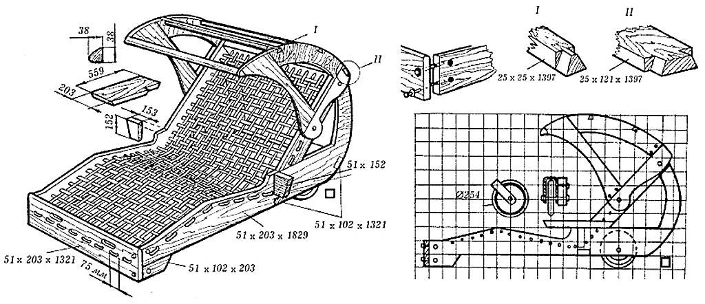 Чертежи передвижного парного шезлонга с откидным навесом
