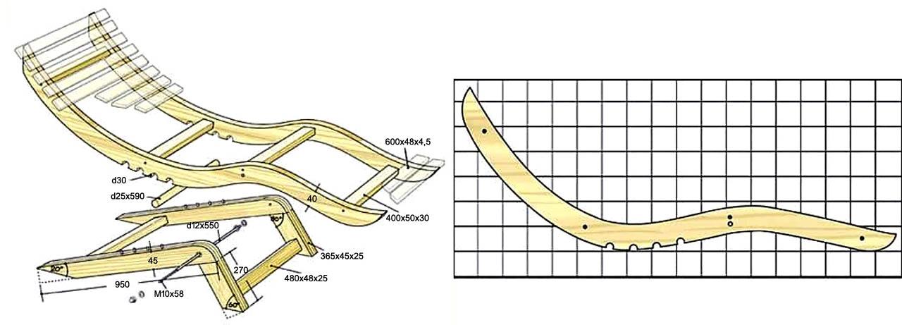 Чертежи регулируемого анатомического шезлонга