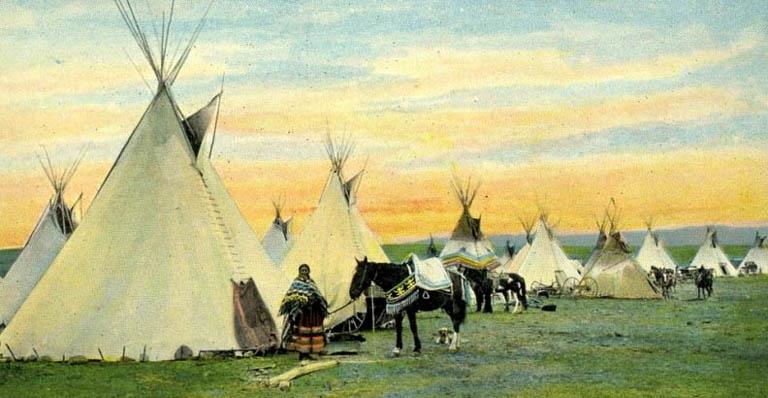 Индейское стойбище в прерии. С картины XIX века