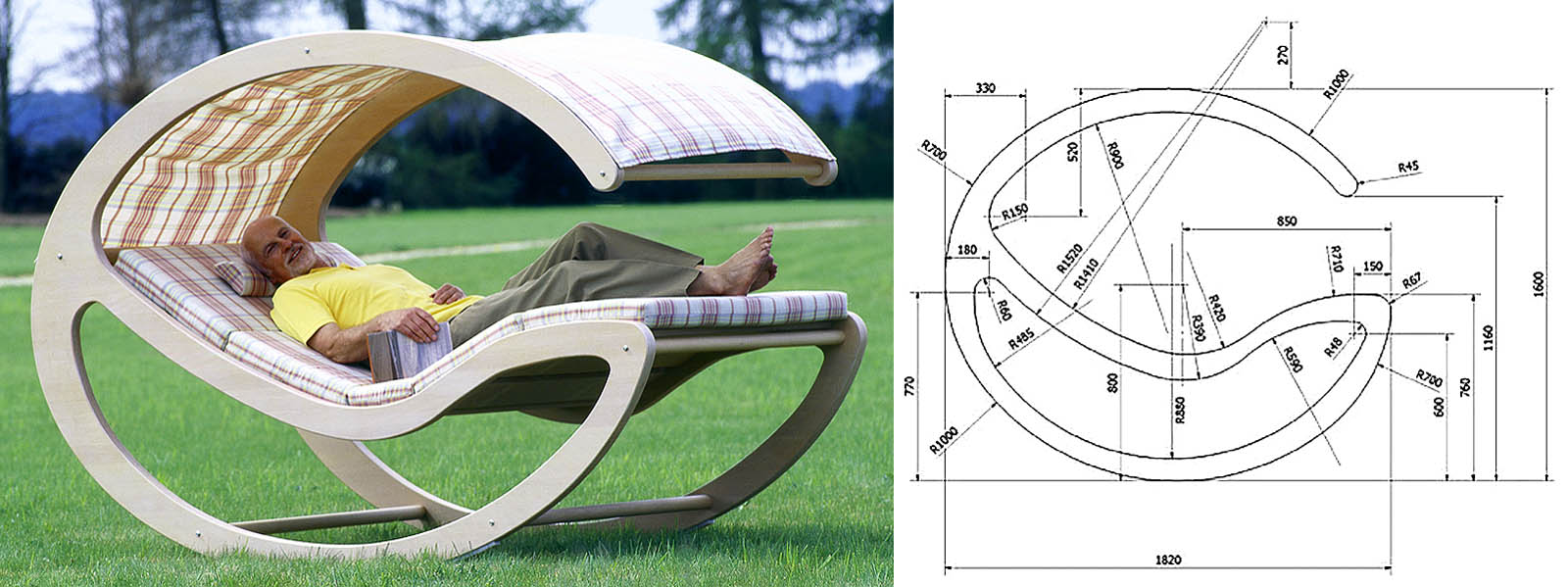 Общий вид и размеры боковины шезлонга-качалки для пожилых и/или сильно уставших людей