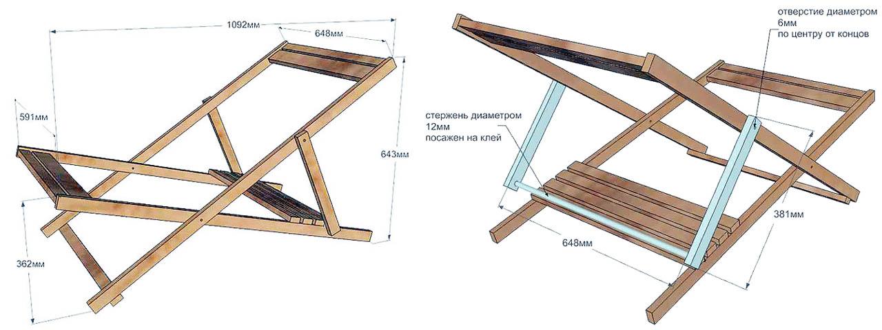 Размеры и конструкция рамы универсального мягкого шезлонга