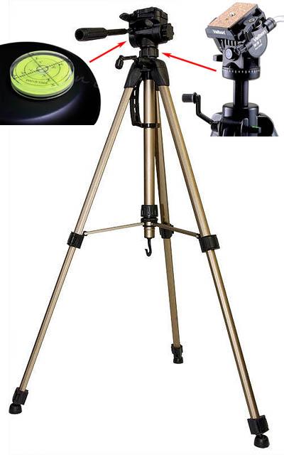 Фото/видео штатив, пригодный для применения в качестве опоры самодельного нивелира