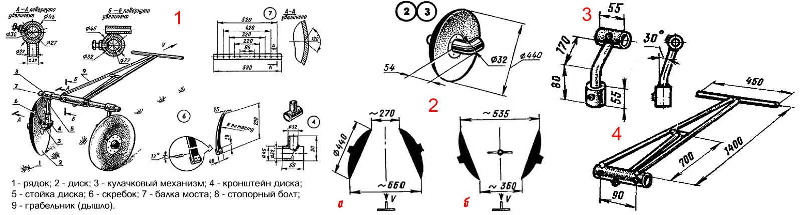 Чертежи дискового окучника для картофеля под мотоблок и ручную тягу