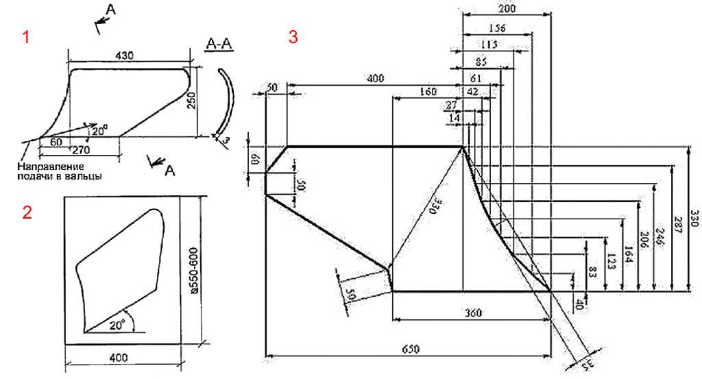 Способы изготовления и чертеж развертки отвала плуга типа МТЗ