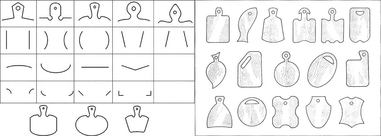 Элементы, из которых комбинируется форма разделочной доски, и примеры их применения