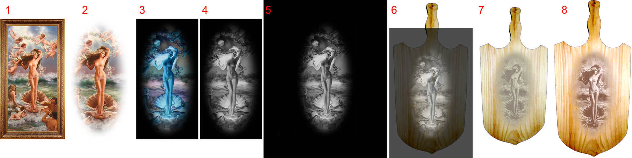 Получение полутонового изображения на деревянной разделочной доске фотоспособом