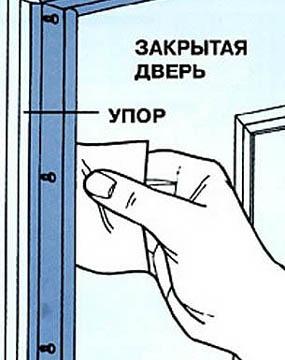 Проверка прижимного усилия металлопластиковой двери листом бумаги