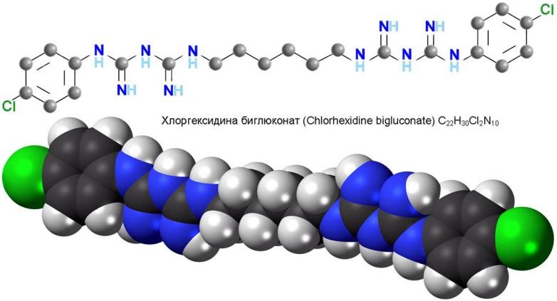 Химическая формула и строение молекулы хлоргексидина биглюконата