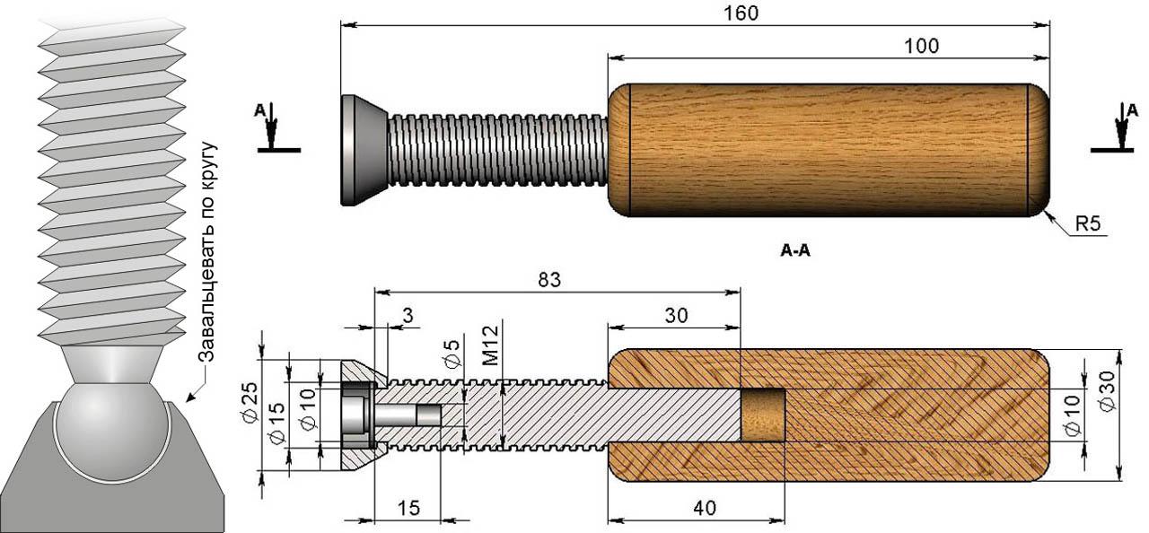 Конструкции винтовых прижимов струбцин