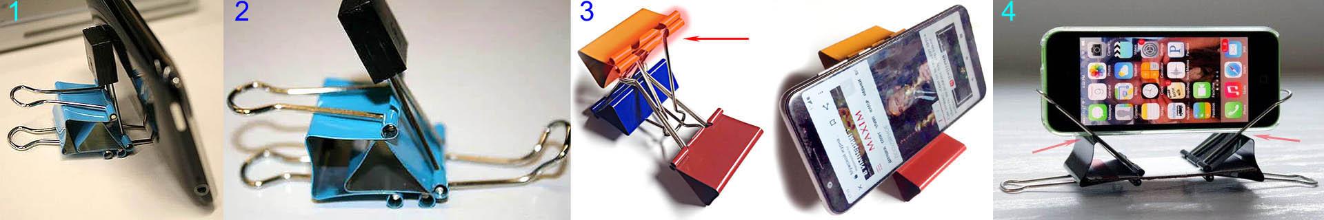 Как сделать подставку для телефона из зажимов для бумаги