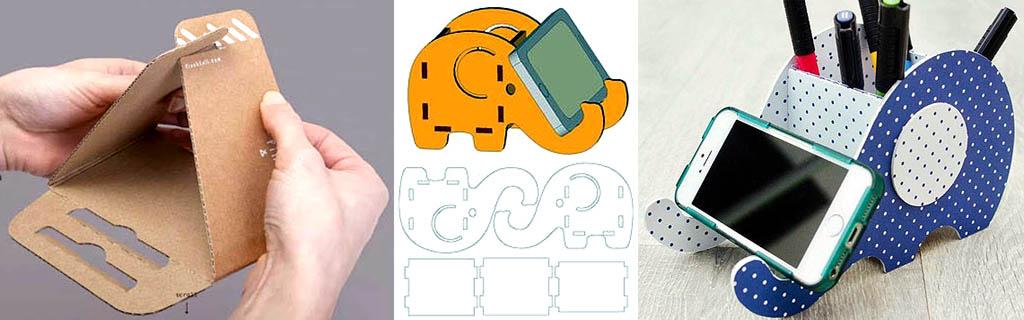 Подставки для телефона из картона: из одной детали и органайзер